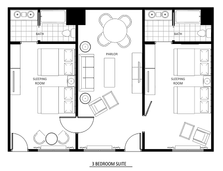 Three Room Suite Layout