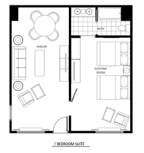 2 room suite layout