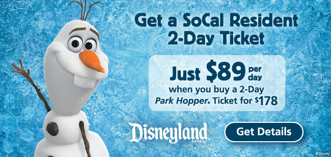2 Day Disneyland Ticket So-Cal Residents